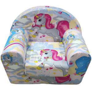 Fotelja za decu Soft Jednorog Pink