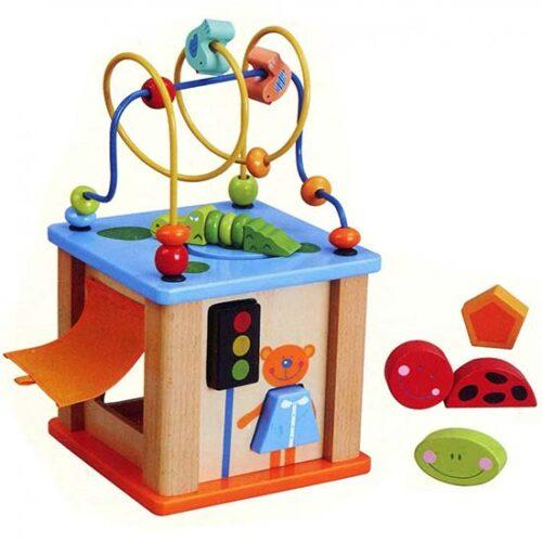drvena edukativna kocka za bebe i lavirint